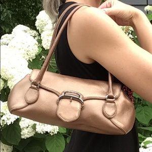 COLE HAAN alexa small metallic leather handbag